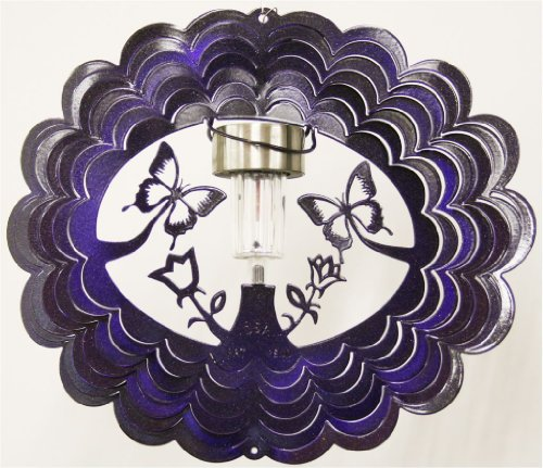 Solar Butterfly Purple Starlight Wind Spinner, Metal Yard Art and Outdoor Décor, 12 Inch (Outside Decorating Ideas)