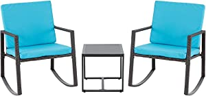 EROMMY 3 Piece Rocking Bistro Set Wicker Patio Outdoor Furniture Porch Chairs Conversation Sets with Glass Coffee Table,or Yard and Bistro, Blue
