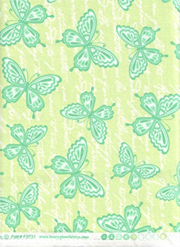 (Henry Glass & Co ~ Butterfly Kisses Green Flannel Quilt Fabric ~ HALF YARD!! ~ Patt# F9731 ~ Lime Green Girly Butterfly Print 100% Cotton 45