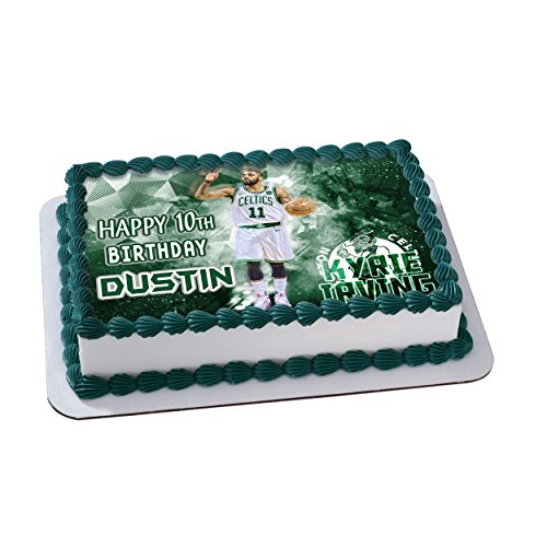 Kyrie Irving Boston Celtics Birthday Cake Personalized Toppers Edible Frosting Photo Icing Sugar Paper A4 Sheet 1 4 Best Quality Image For