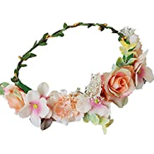 YAZILIND Bride Rose Flower Wreath Headdress Wedding Bridal Floral Crown Garland Beach Headband Photo Props