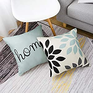 Yumin Tropical Plants Throw Pillow Case Cotton Blend Linen Cushion Pillow Case Square Cushion Cover 18x18 for Sofa,Bedroom, Home Decor