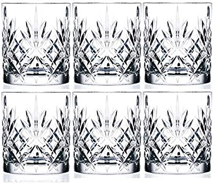 King International Crystal Glass Straight Leaf Design Set of 6 Juice Glasses| 225 ml
