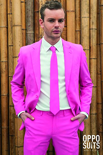 Pink Mens Suit (Mens 'SUMMER Mr. Pink' Party Suit and Tie by OppoSuits, 36)