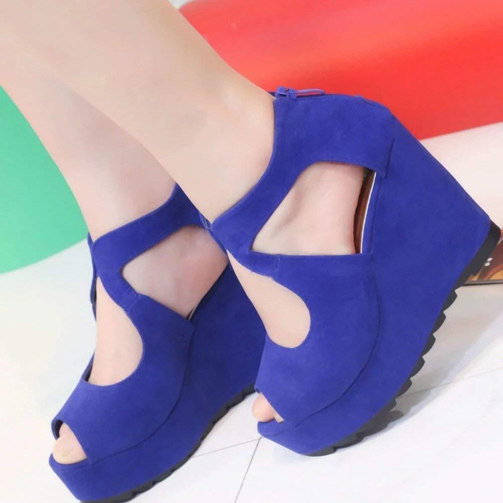 Oudan Casual Plattform Schuhe Hochhackigen Fisch Mund Rutschfeste Wasserdichte Plattform Schuhe Trend Steigung mit Ultra Hoch mit Dünnen Weiblichen Sandalen (Farbe   Blau Größe   37)