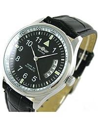 Fanmis Men's Sport Date Black Leather Strap Automatic Self Winding Watch