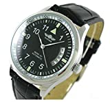 Fanmis Men's Sport Date Black Leather Strap Automatic Self Winding Watch