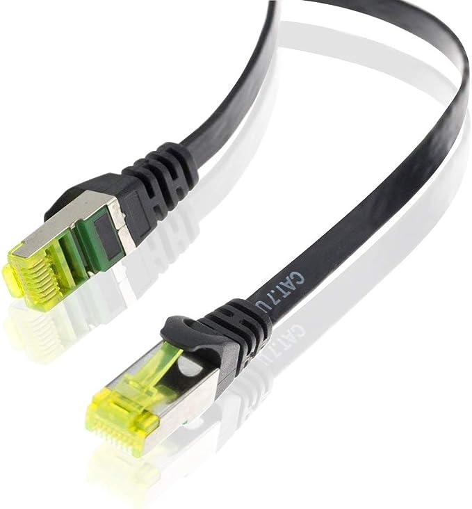 Gigabit r/éseau local LAN 10 Gbps 30m CAT 7 C/âble r/éseau plat C/âble CAT.7 brut Blindage U//FTP PIMF avec fiche RJ 45 C/âbles de pose C/âbles de connexion patch C/âbles plats C/âble Ethernet