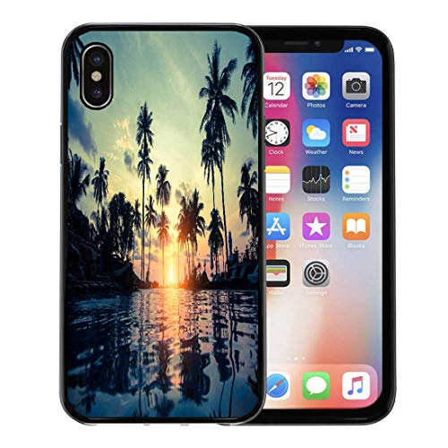 (Semtomn Phone Case for Apple iPhone Xs case,Colorful Hawaii Tropical Beach Pool and Silhouetted Palm Trees During Sunset Orange Scenery for iPhone X Case,Rubber Border Protective Case,Black)