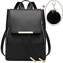 Black Leather Backpack,Coofit Drawstring Backpack Purse for Women Ladies Backpacks with Keychain