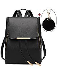 Black Leather Backpack,Coofit Small Mini Drawstring Backpack Purse for Women Ladies Backpacks with Keychain