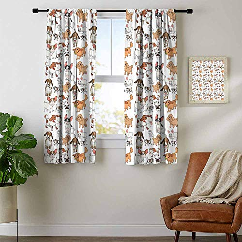 Mozenou Dog Lover, Curtains Sliding Glass Doors, Cartoon Style Chihuahua Terrier Bulldog and Beagle Funny Characters Purebred Pets, Art Prints Window Treatment, W63 x L63 Inch Multicolor