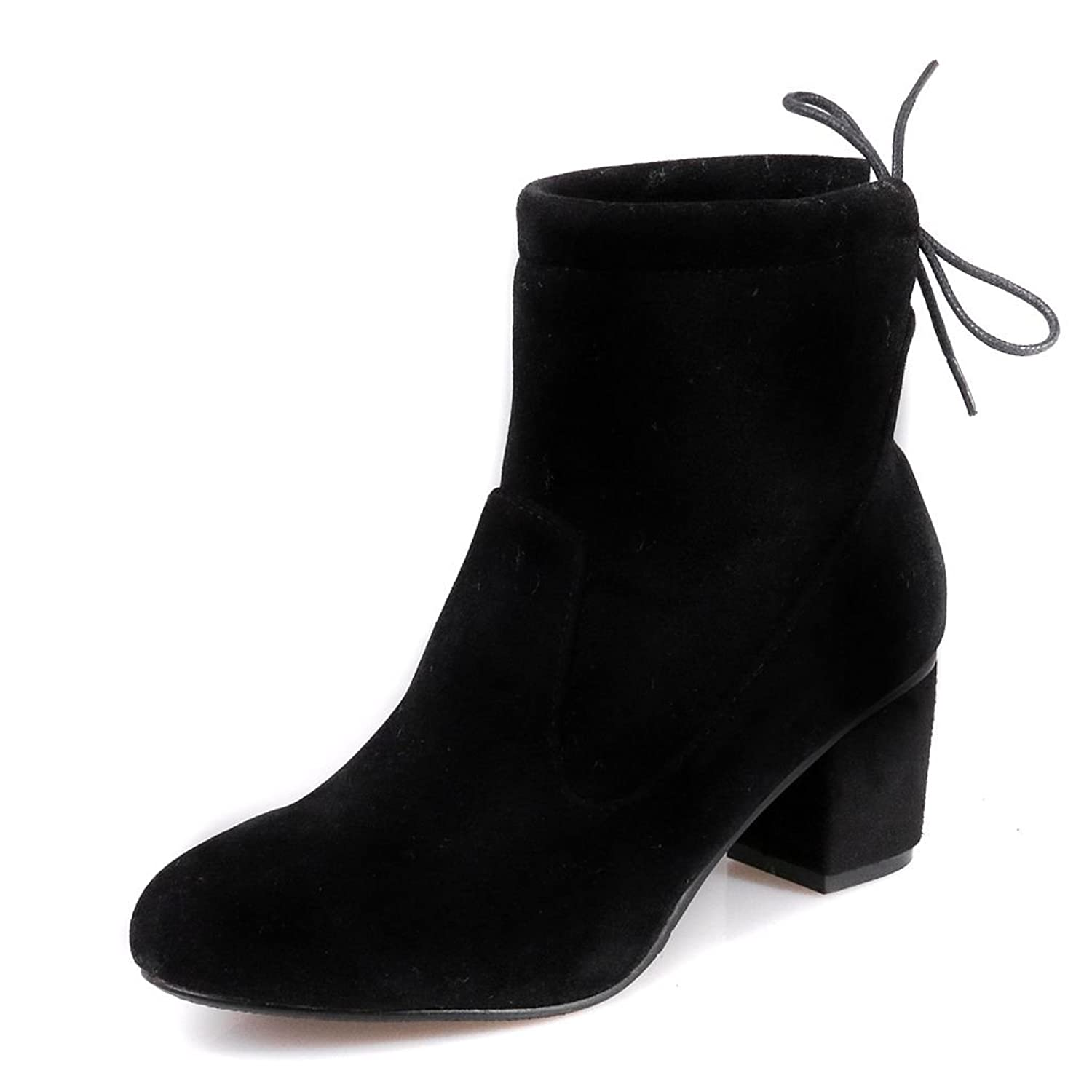 Kaloosh Women's Pointed Toe Block Low Heel Nubuck Leather Comfortable Ankle Boots 5RMRV
