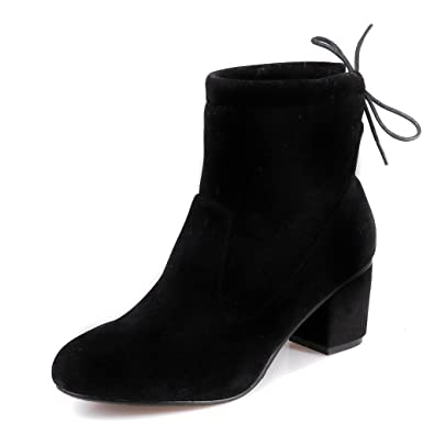 Kaloosh Women's Comfortable Round Toe Block Low Heel Zipper Ankle Boots yokfWrL8
