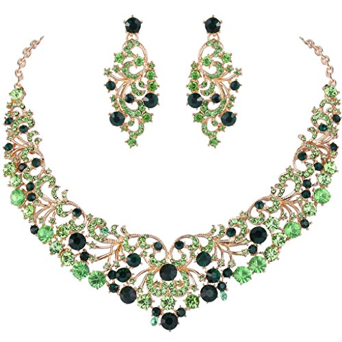 EVER FAITH Gold-Tone Austrian Crystal Gorgeous Butterfly Floral Vine Necklace Earrings Set Green]()