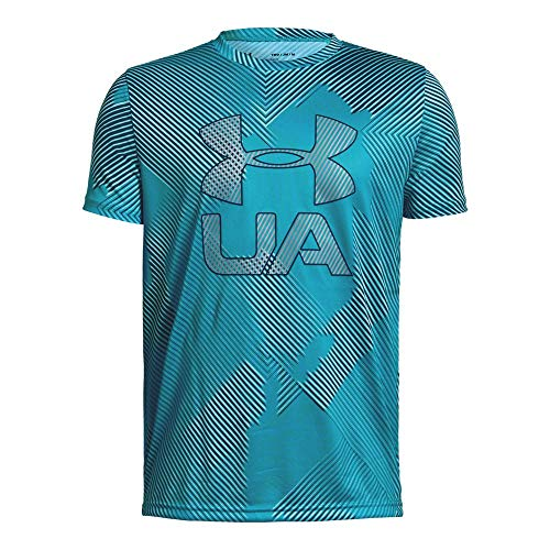 Under Armour Boys Printed Crossfade Tee, Deceit (439)/Techno Teal, Youth X-Large
