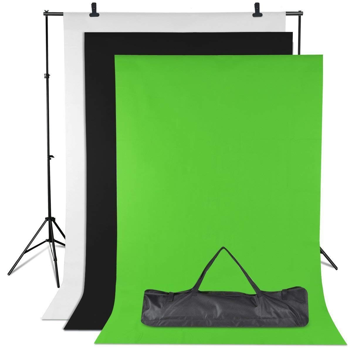 Amzdeal Photography Backdrop Stand Background Stand Support System 6.56ft X 9.84ft Video Photo Studio with Non Woven White Black Green Backdrop and Stand Kit