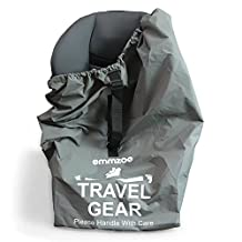 Emmzoe Premium Car Seat Airport Gate Check Travel Storage Bag Features Durable Nylon, Foldable Pouch, Hand / Shoulder Strap (Gray)
