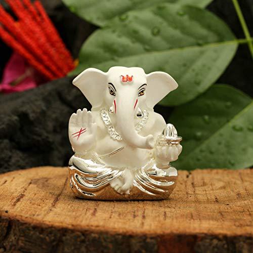 (CraftVatika Silver Plated White Terracotta Appu Ganesha Statue God Ganesh Idol for Car Dashboard Ganpati Murti Figurine Gifts Home Decor (Size: 6 cm x 4 cm) )