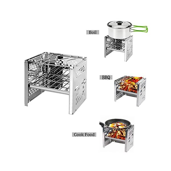 Unigear Wood Burning Camp Stoves Picnic BBQ Cooker/Potable Folding Stainless Steel Backpacking Stove 2