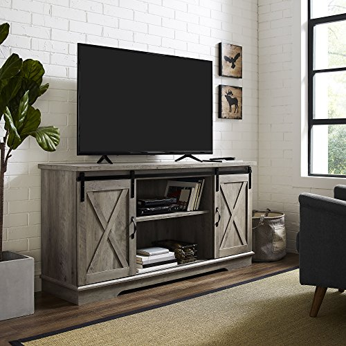 Home Accent Furnishings New 58 Inch Sliding Barn Door Television Stand - Grey Wash Finish (Cabinet Door Sliding Tv)