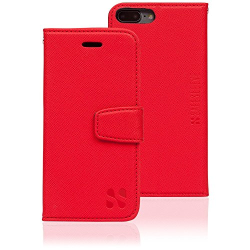 Anti Radiation RFID iPhone Case: iPhone 7 Plus and iPhone 8 Plus ELF & RF Blocking Identity Theft Protection Wallet (Red) by SafeSleeve