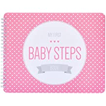 "NEW! Baby First Year Memory Book for 2 moms LGBT Family. Pretty In Pink ""Modernista""(TM), Poly Cover Hand Made. Memory keeper record book and journal for Boy or Girl. 7.5x9.5"" - Great Shower Gift"