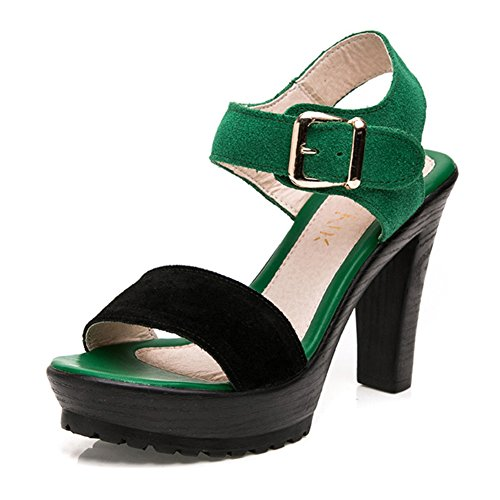 Women's High Heel Sandal Open Toe Thick Bottom Dress Shoes Cool Ankle Strap (Green Wedge Platform)