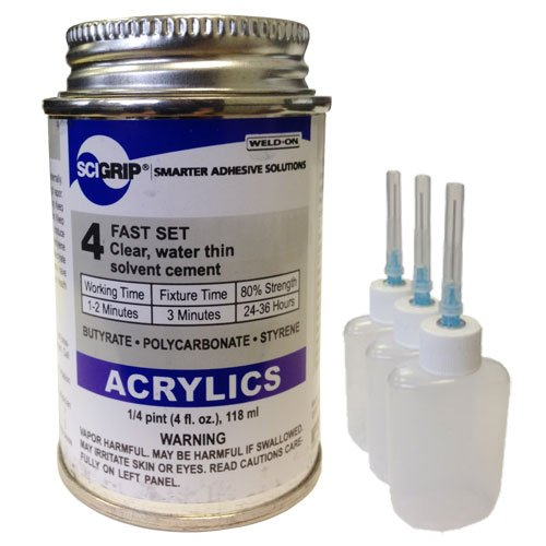 Weld-On 4 Acrylic Adhesive - 4 Oz and 3 Pack of Weld-On Applicator Bottle with Needle by IPS - Weld-on