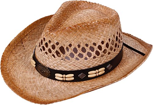 [TAUT Children Woven Straw Cowboy Hat for Summer, Wood Beads] (Baby Farmer Halloween Costume)