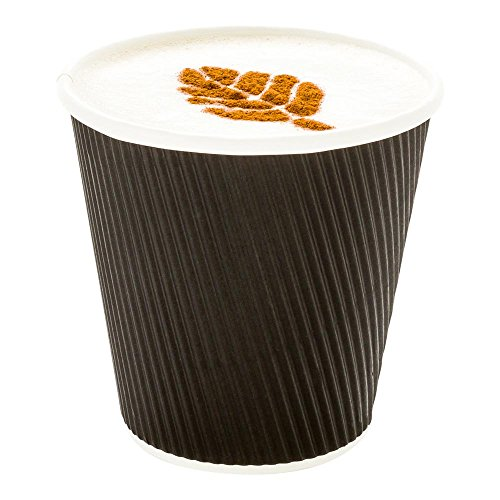 500-CT Disposable Black 8-OZ Hot Beverage Cups with Ripple Wall Design: No Need for Sleeves – Perfect for Cafes – Eco-Friendly Recyclable Paper – Insulated – Wholesale Takeout Coffee Cup (Recycled Mug Travel)