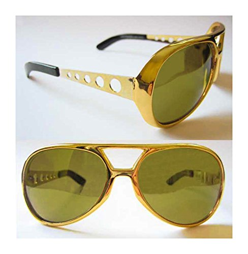 Classic Elvis Rock N' Roll Sunglasses (Gold w/ Mirrored Lenses)
