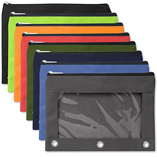 3 Ring Pencil Cases with Clear Window - Bulk Wholesale Pack of 96 Pieces (8 Color Assortment)