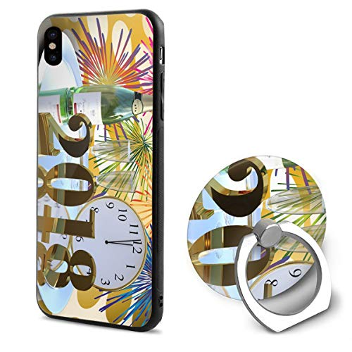 iPhone X Case Happy New Year-Retro New Year Wallpapers_ with Ring Holder 360 Degree Rotating Stand Grip Mounts Slim Soft Protective Cover ()