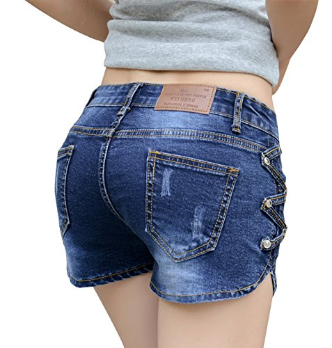 Govc Women Casual Summer Mid Waist Stretchy Denim Jean Shorts Junior Short Jeans(Blue,M) (Jean Shorts For Teens)