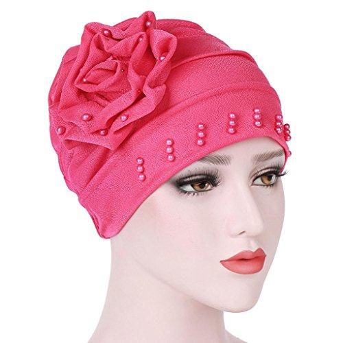 Tied Fashion Scarf (Sunyastor Women India Hat Muslim Ruffle Cancer Chemo Hat Beanie Scarf Turban Head Wrap Cap Shower Cap Beach Hat (Hot Pink, One Size))
