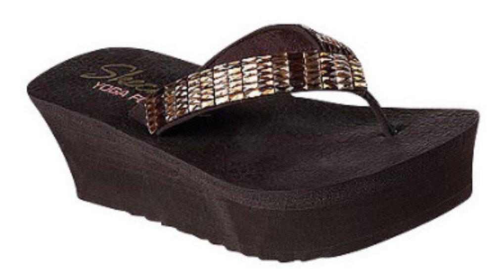 Skechers Cali Women's Bandha-Savasana Flip Flop,Chocolate,11 M US