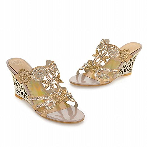 Damen Wedges High Strass Sandalen Shine Show Gold Heel Slipper Sexy 1A5nOYUvwq