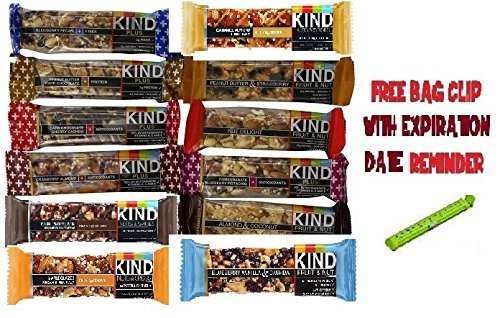 Kind Bars Variety Pack, 12 Different Flavors, 1.4oz bars of Each bars ,BONUS Food Sealing Clip - Kind Blueberry Pecan