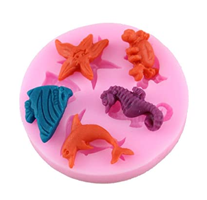 SA074 - Molde de silicona para uso alimentario de 5 animales marinos - estrella de mar