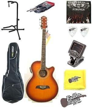 Oscar Schmidt og10cefys llama Sunburst acústica guitarra eléctrica w/funda, soporte y más: Amazon.es: Instrumentos musicales