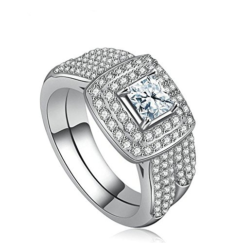 - Dinobaby White Gold Sterling Silver Square CZ Zircon Diamond Wedding Band Ring Bridal Sets,size 9