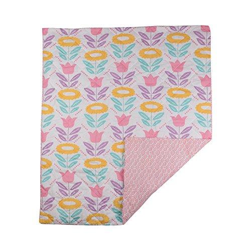 Poppi Living Infant Quilted Comforter, Flower Aqua Tulip Garden