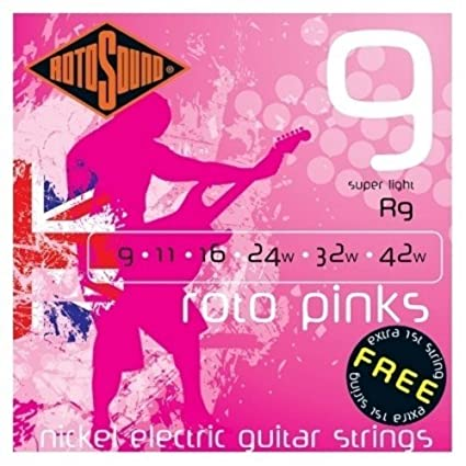 Amazon.com: CUERDAS GUITARRA ELECTRICA - Rotosound (R/9) Ultra Lite/Roto Pinks (Juego Completo 009/042E): Musical Instruments