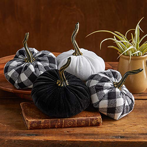 (Buffalo Plaid Flannel and Velvet Pumpkins Set of 4, modern farmhouse decor, mantle decor, rustic centerpiece, fall decor, best selling item)