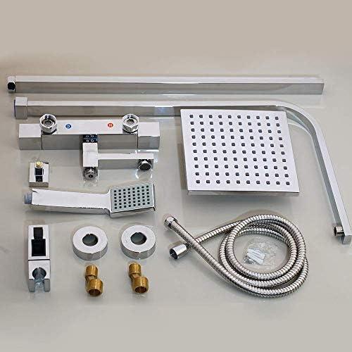 BZM-ZM 8インチサーモスタットシャワーセット、ミキサー/ハンドスプレーでハンドルとクロームミキサー