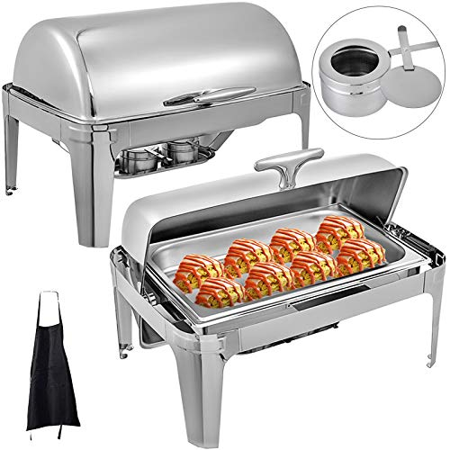 Mophorn 2 Packs Stainless Steel Roll Top Chafing Dishes 8 Quart Full Size Pan Chafer Complete Set (Sets Complete Dish)