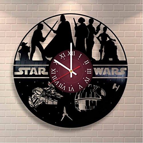 Star Wars Vinyl Record Clock Home Design Room Art Decor Handmade Gift For Him and Her
