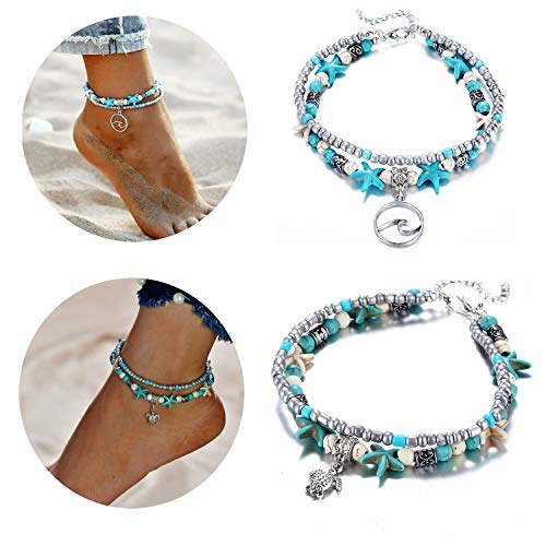 Starain Blue Turtle Anklets for Women Girls Multilayer Beads Handmade Beach Ankle Bracelet Set Boho Foot Jewelry