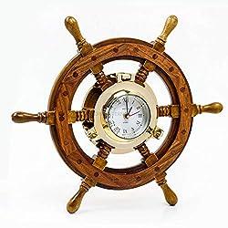 Nagina International 18 Sailor's Premium Home Decor Time's Clock Nautical Brass Porthole Ship's Wheel   Deluxe Office Decor   Wall Decor   Birthday Gift   Christmas